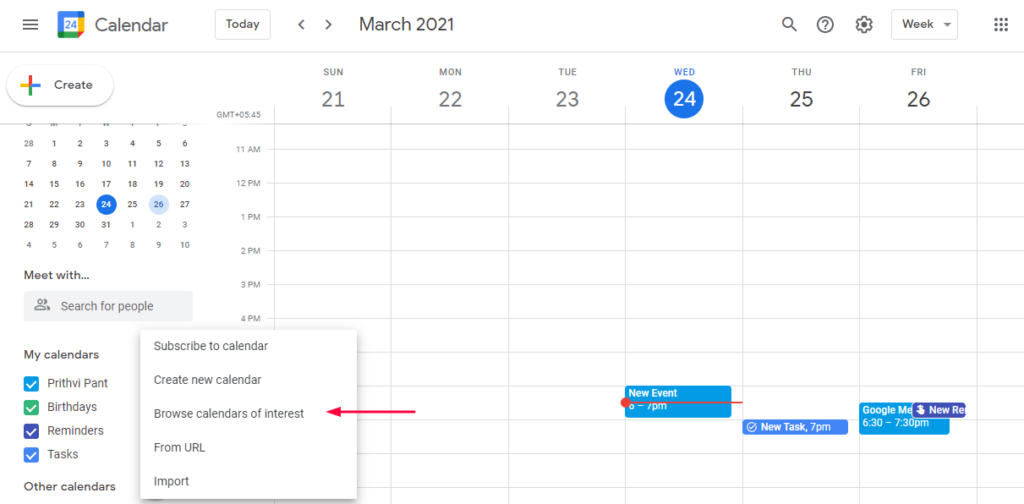Browse Calendars of Interest