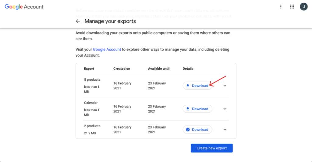 In manage your exports, click on download