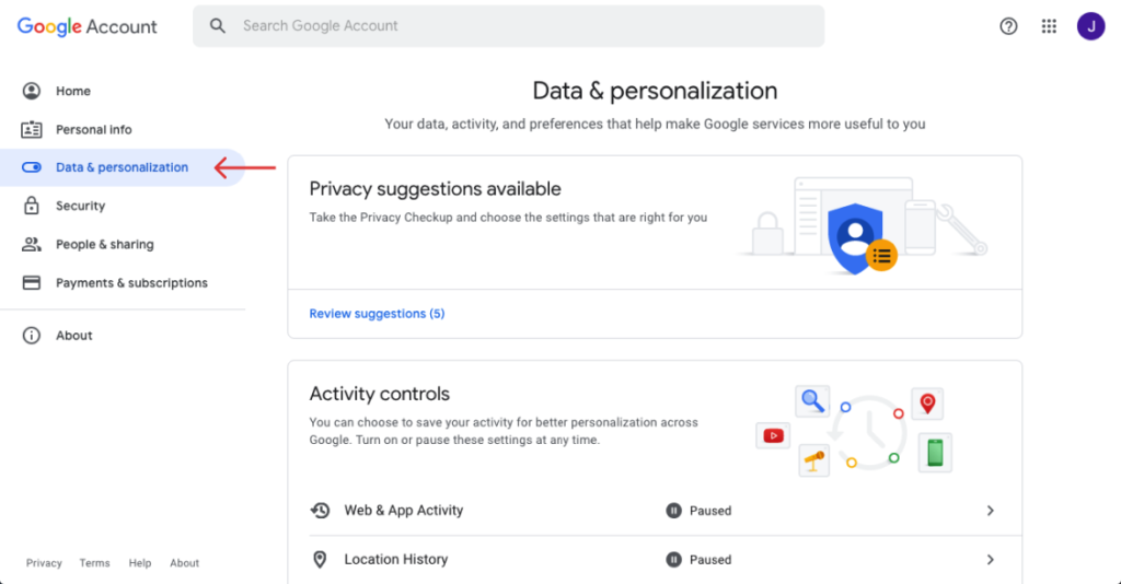 On Google account, click data and personalization