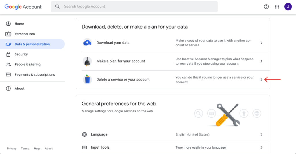 Go to Download, delete or make a plan for your data