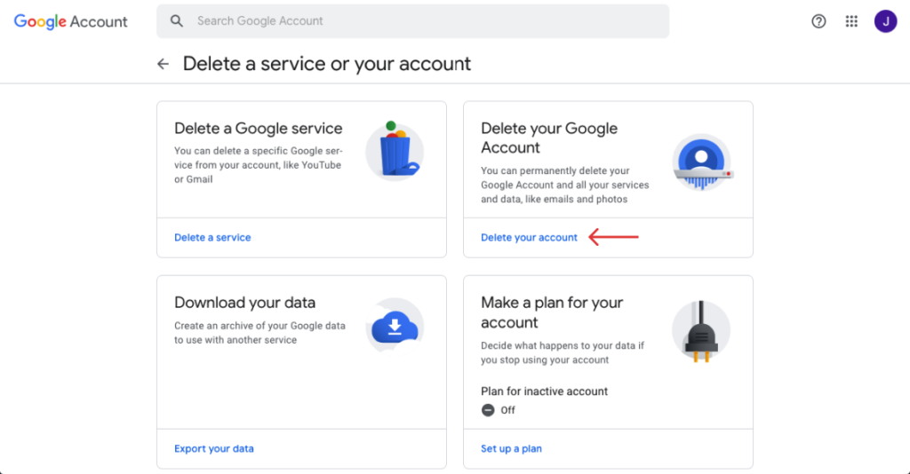 click on delete your google account