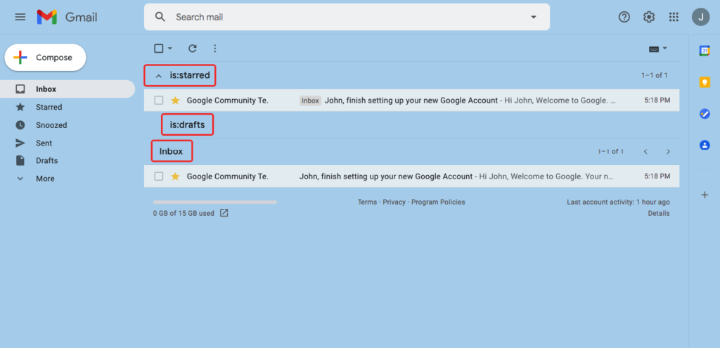 multiple inbox starred, drafts