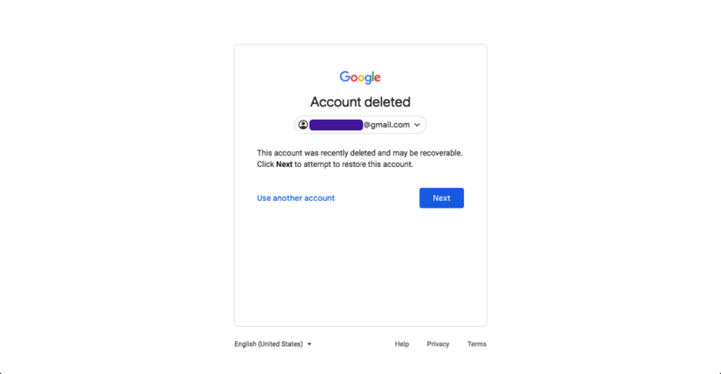 if google identifies your deleted account click on next