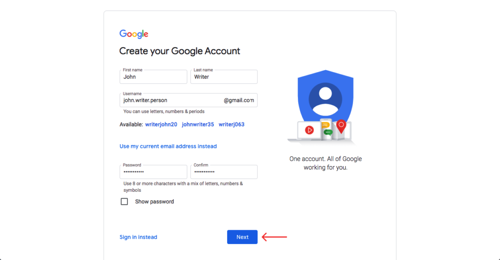 fill out the Google sign up form