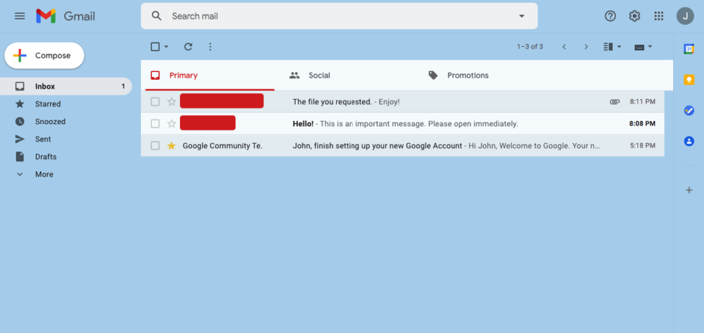 comfortable view of Gmail inbox