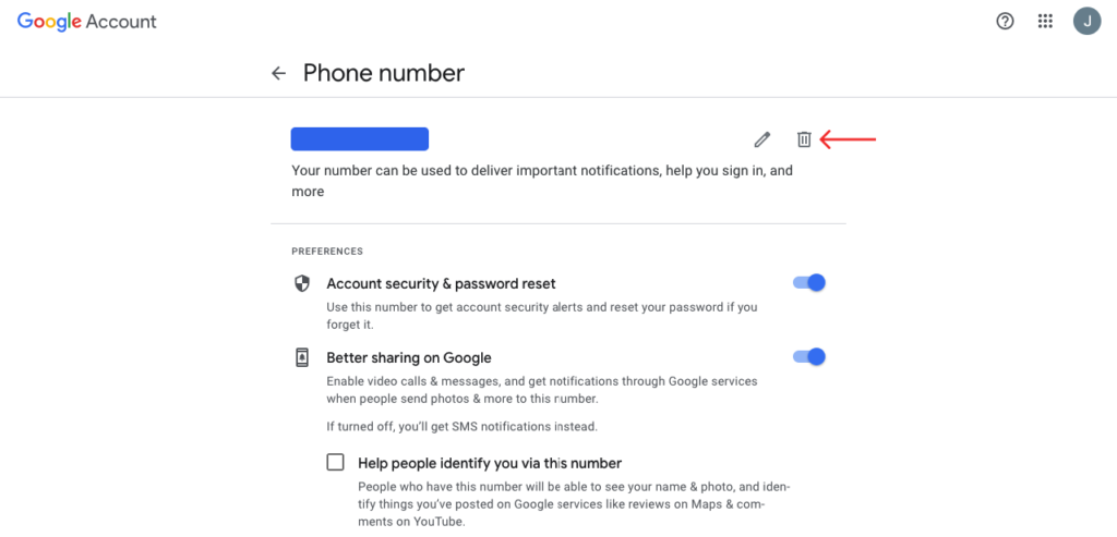 click on bin to delete phone number