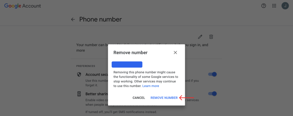 click on remove number to remove it
