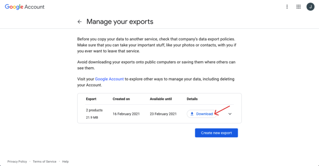 In manage exports, click download