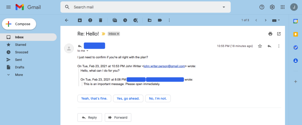 email reply after conversation view off