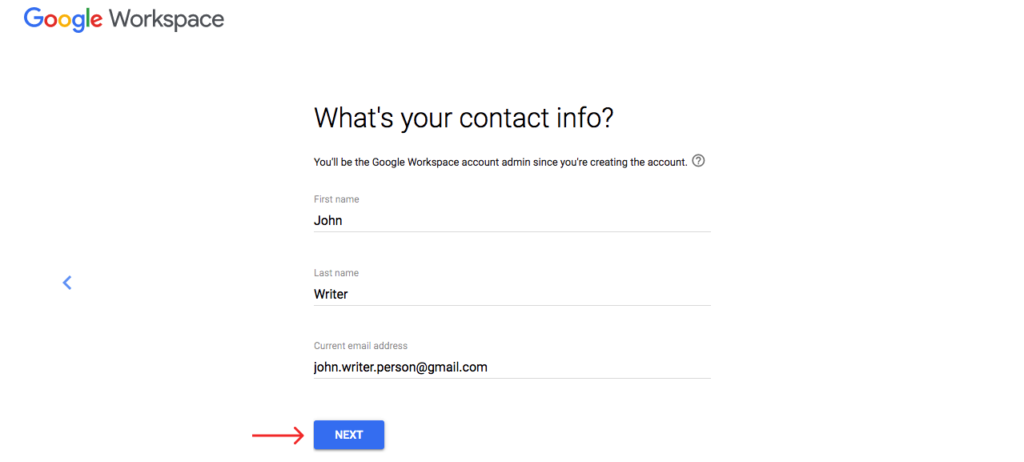 fill the gsuite account form and click next