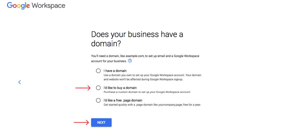 choose domain and click next