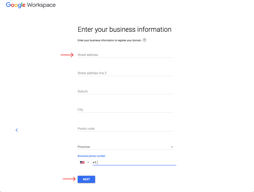 enter your business information