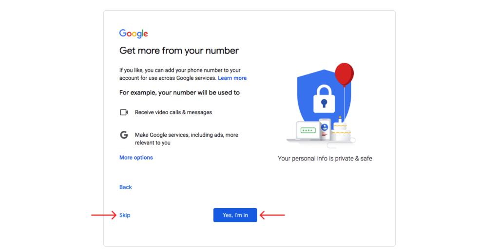 Set up phone number for Google services