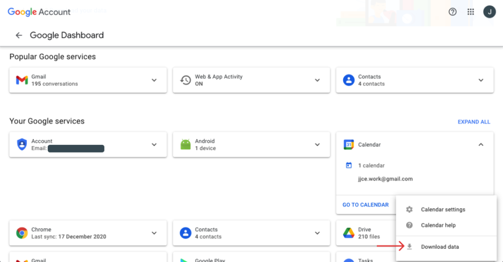 download data from google services