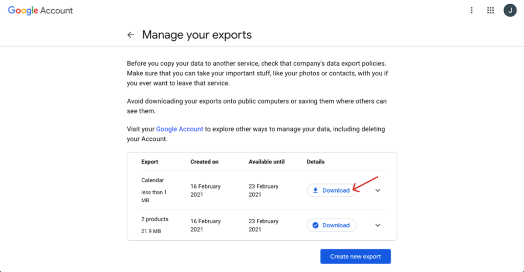 from manage your exports, click download