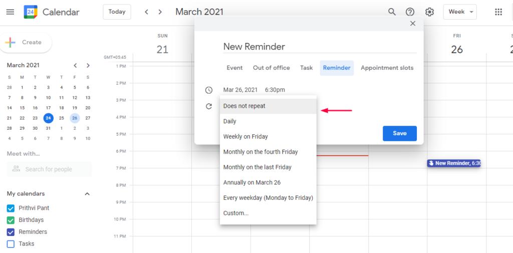 Set Calendar Reminder