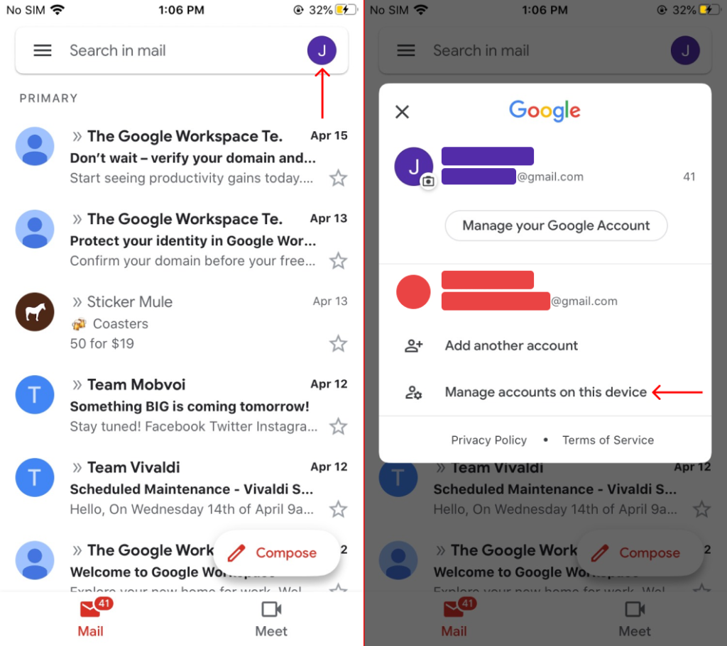 Sign Out of Gmail on iPhone