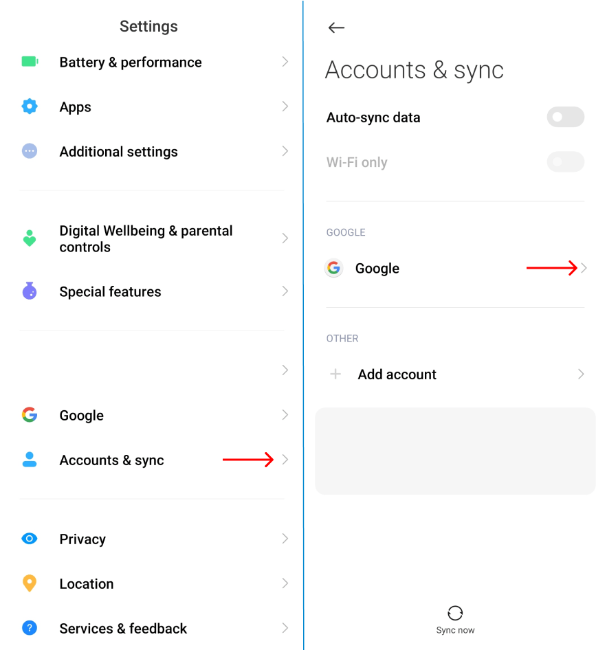 Sign Out of Gmail on Android via device's settings