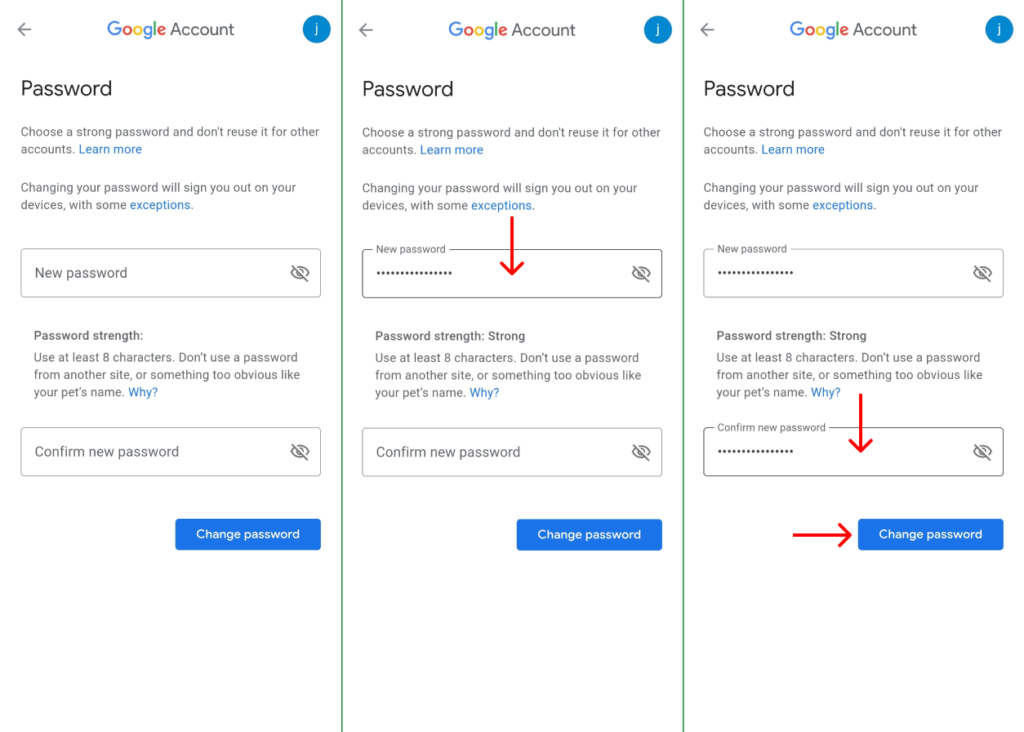 create new password and save