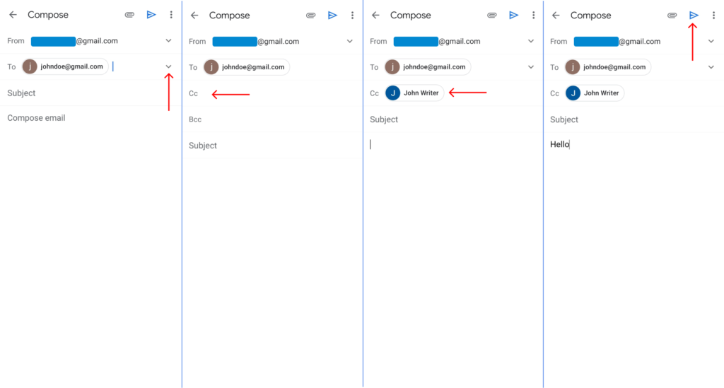 Send Email to Multiple Recipients on Gmail Android / iPhone using cc