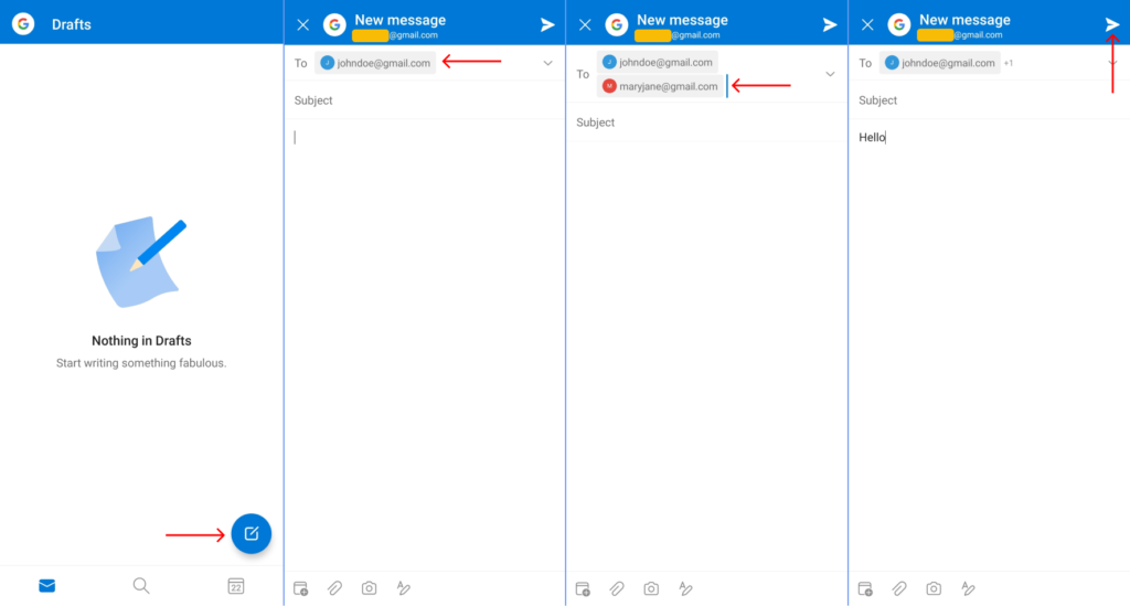 Send Email to Multiple Recipients on Outlook Android/iPhone